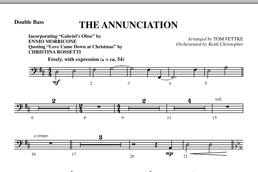 The Annunciation (incorporating Gabriel's Oboe) - Double Bass sheet music