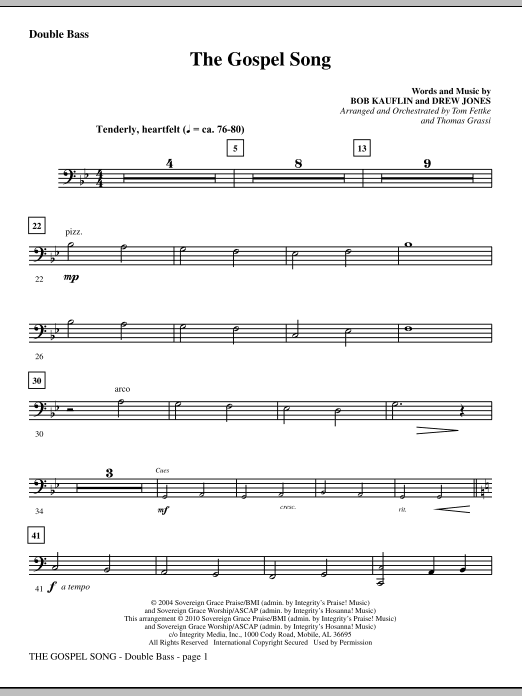 The Gospel Song - Double Bass sheet music