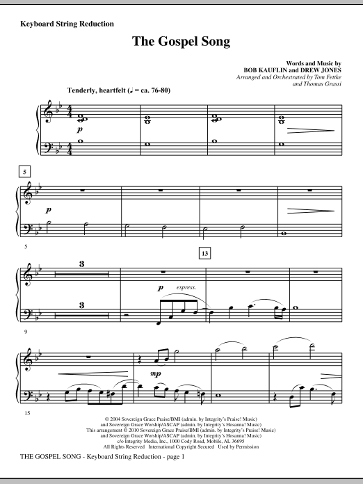 The Gospel Song - Keyboard String Reduction sheet music