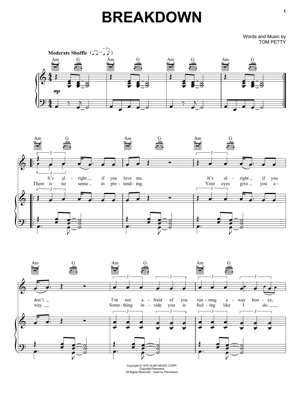 Breakdown sheet music