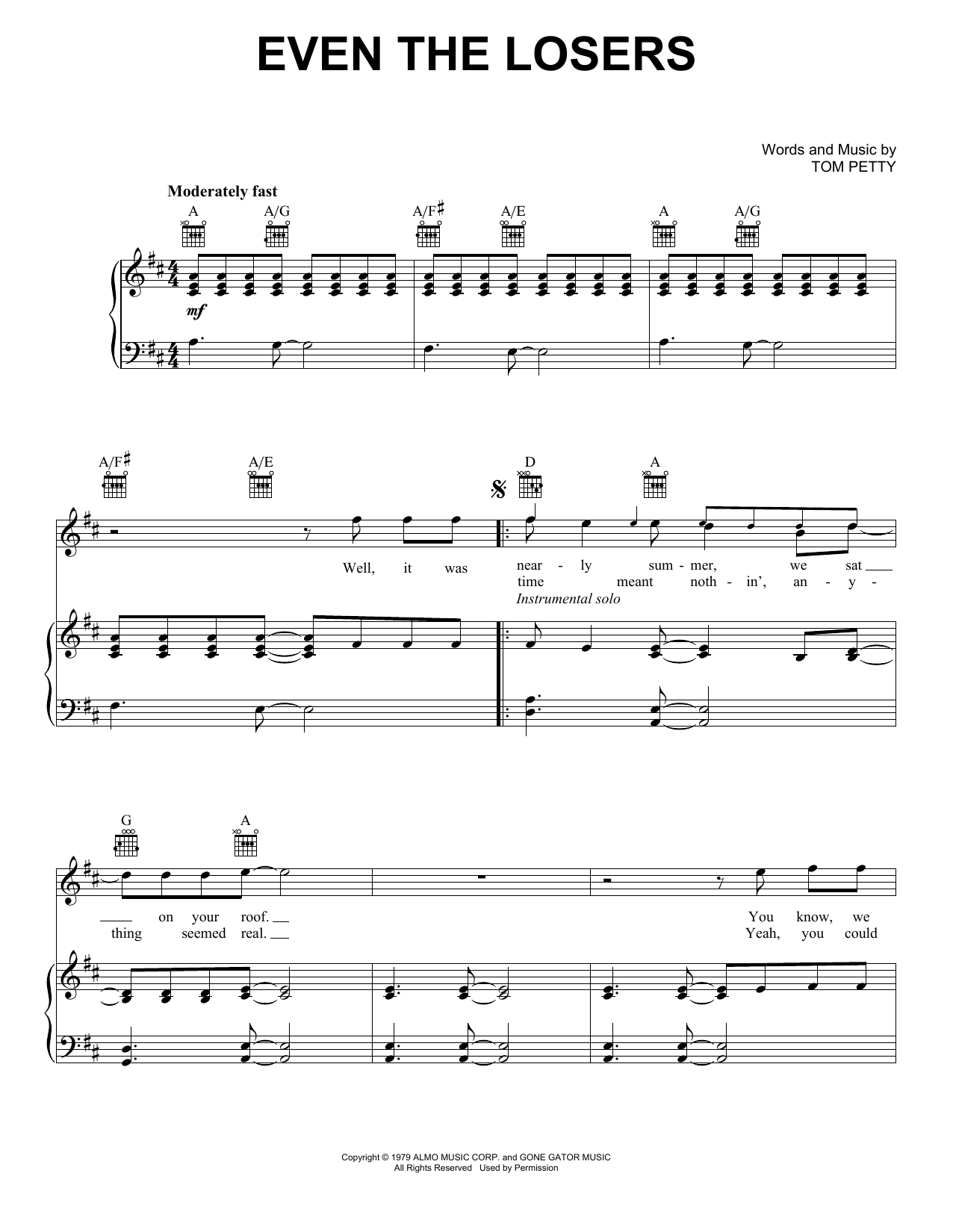 Even The Losers sheet music