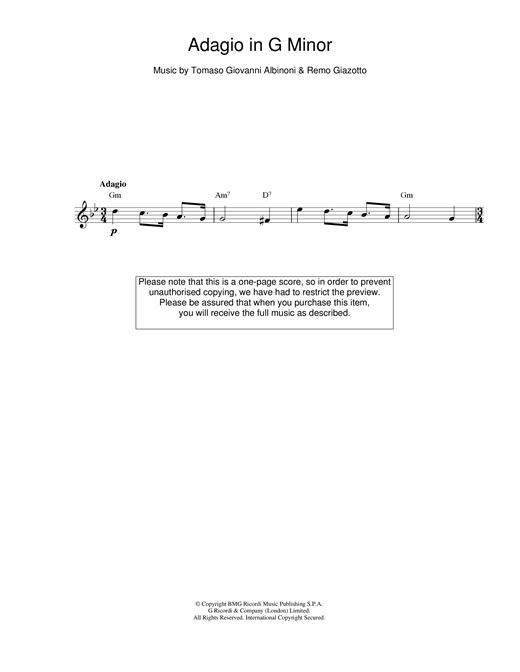 Adagio in G Minor sheet music