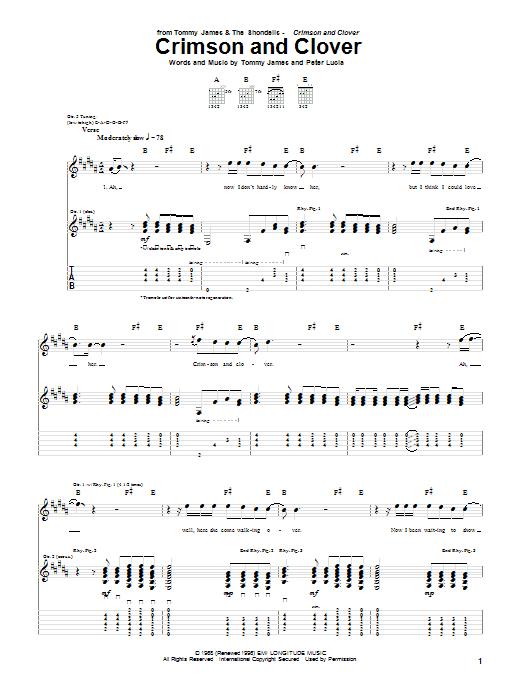 Crimson And Clover sheet music