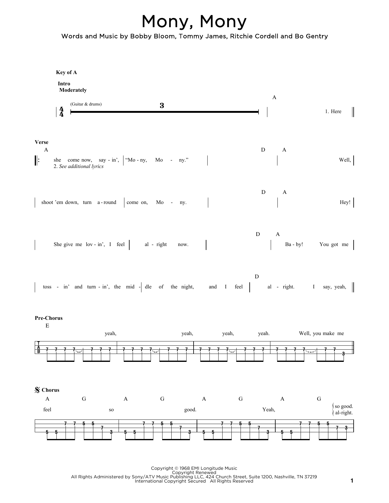 Mony, Mony sheet music