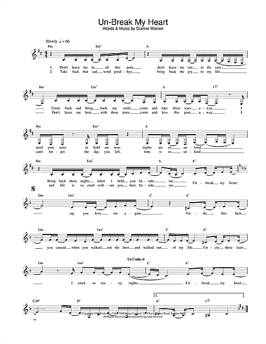 Un-Break My Heart sheet music