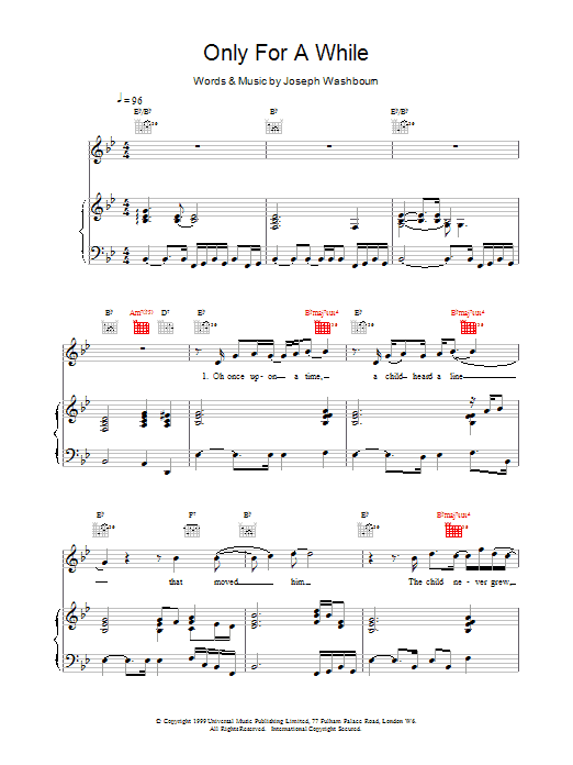 Only For A While sheet music