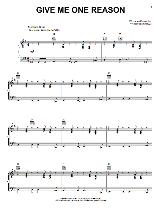 Give Me One Reason sheet music