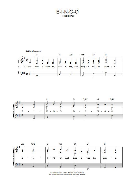 B-I-N-G-O sheet music