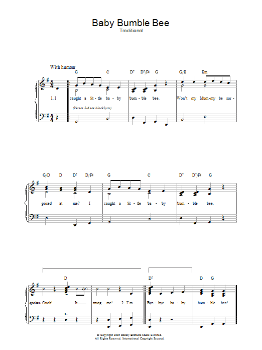 Baby Bumble Bee sheet music