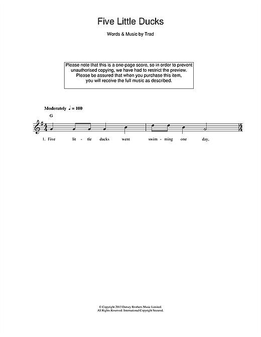 Five Little Ducks sheet music