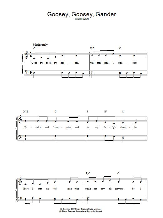 Goosey Goosey Gander sheet music