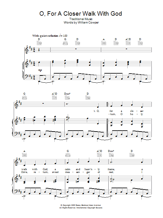 O, For A Closer Walk With God sheet music