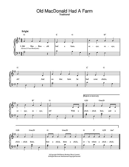 Old MacDonald Had A Farm sheet music