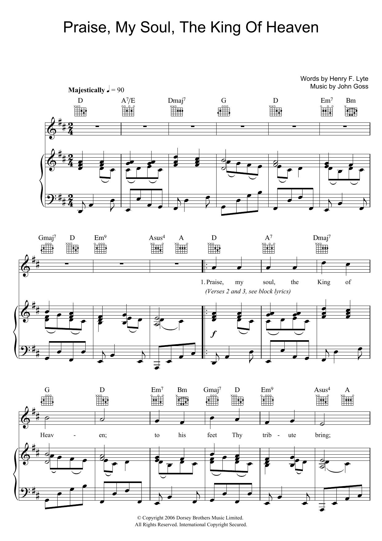 Praise, My Soul, The King Of Heaven sheet music