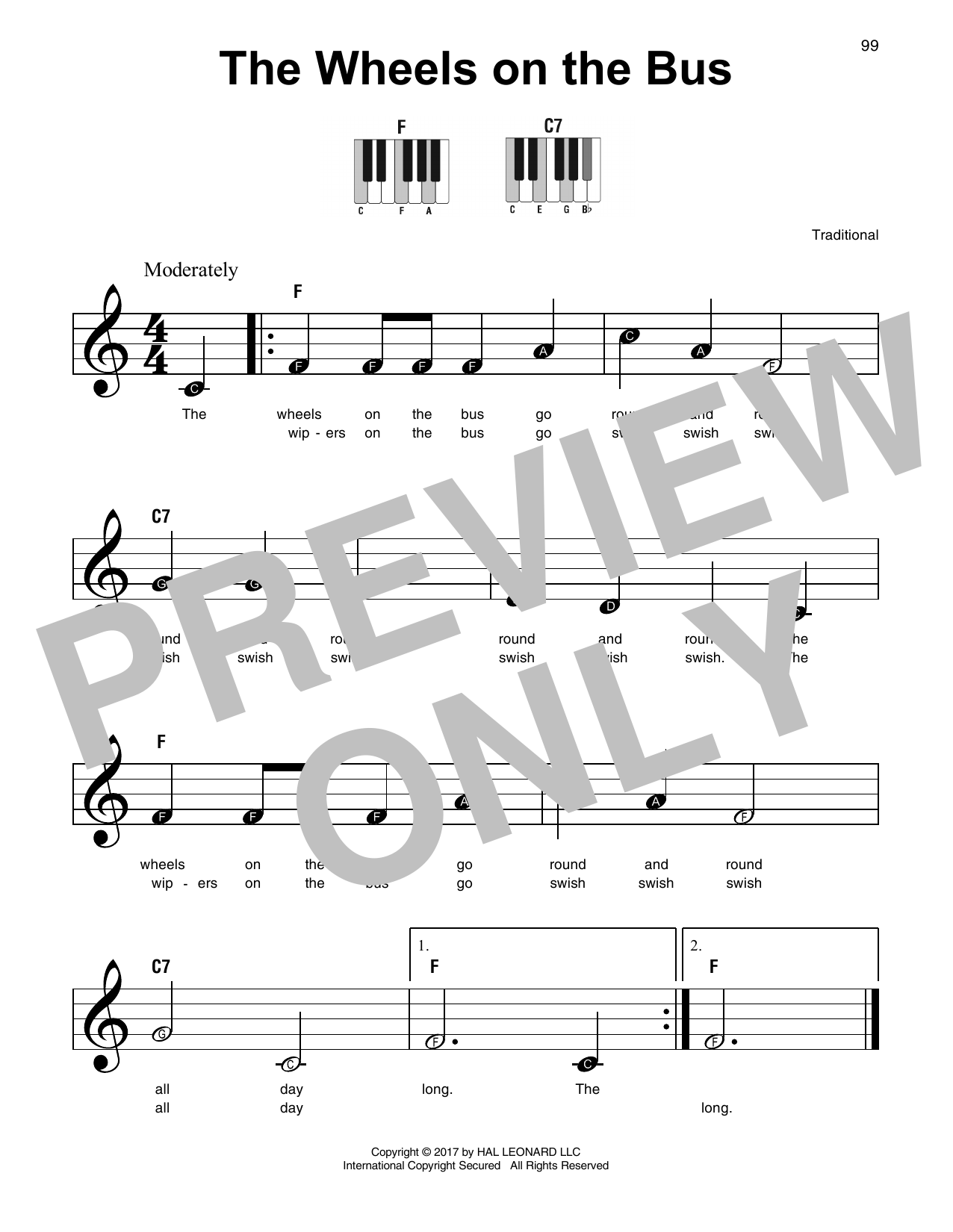 Traditional 'The Wheels On The Bus' Sheet Music Notes, Chords   Download  Printable SPREP   SKU 15