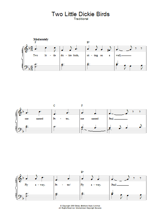 Two Little Dickie Birds sheet music