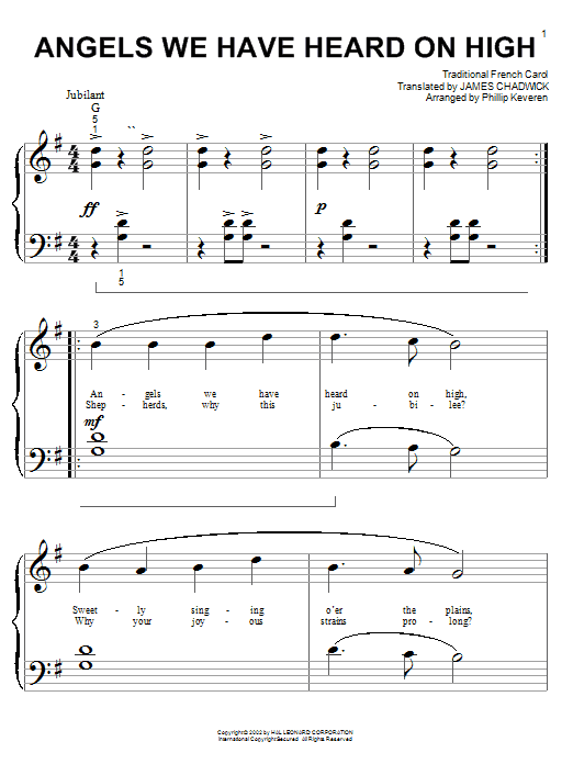Angels We Have Heard On High sheet music