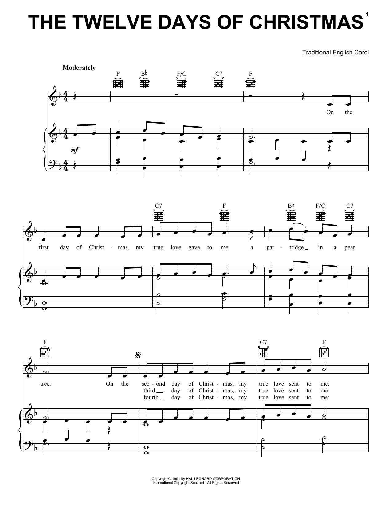 The Twelve Days Of Christmas sheet music