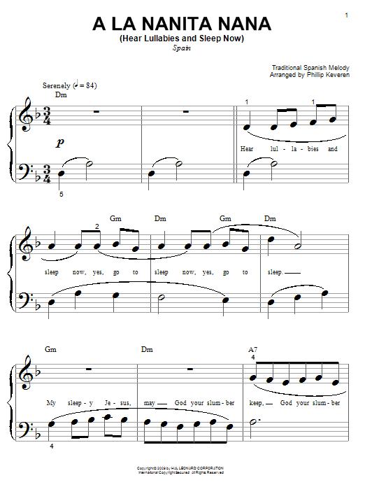 A La Nanita Nana (Hear Lullabies and Sleep Now) sheet music