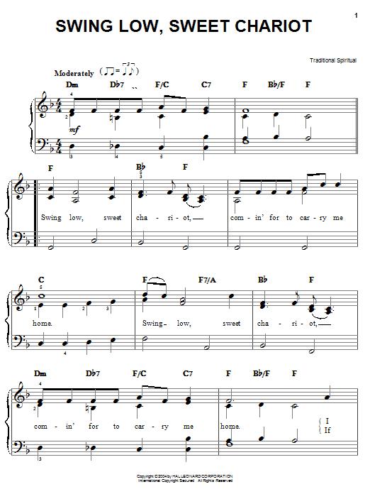 Swing Low, Sweet Chariot sheet music