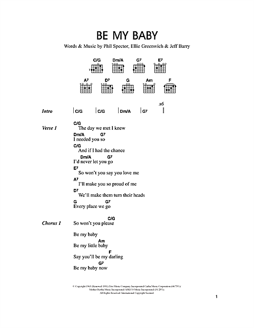 Be My Baby sheet music
