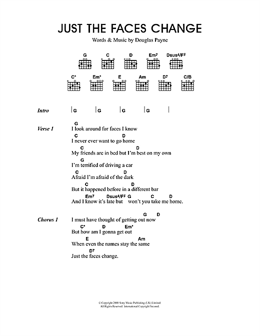 Just The Faces Change sheet music