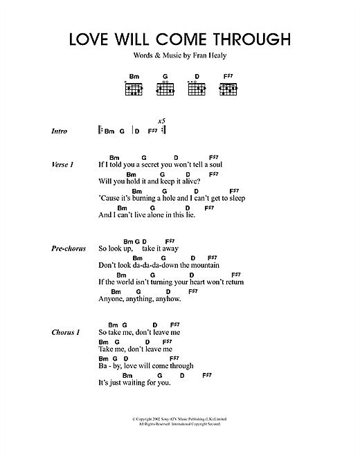 Love Will Come Through sheet music