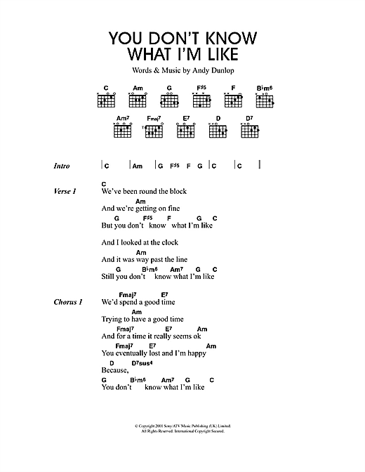 You Don't Know What I'm Like sheet music