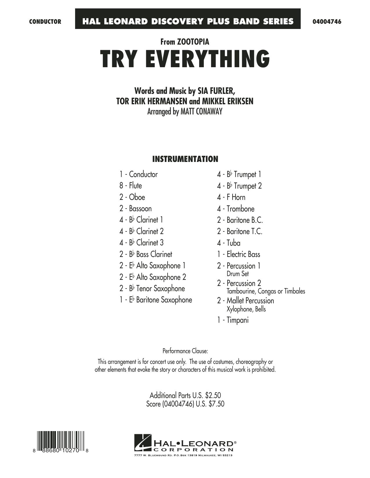 Matt Conaway Try Everything From Zootopia Full Score Sheet Music Download Pdf Score 352055
