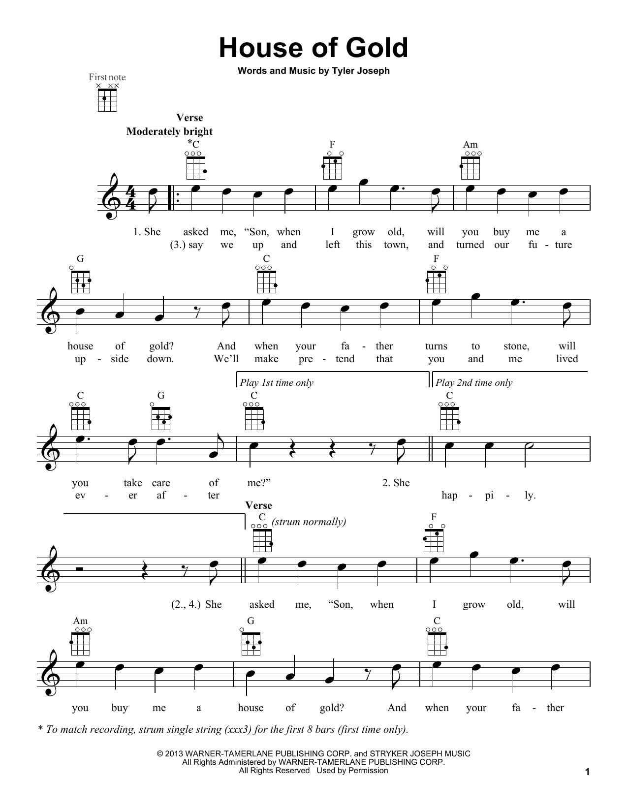 Twenty One Pilots 'House Of Gold' Sheet Music Notes, Chords   Download  Printable Ukulele Chords/Lyrics   SKU 15