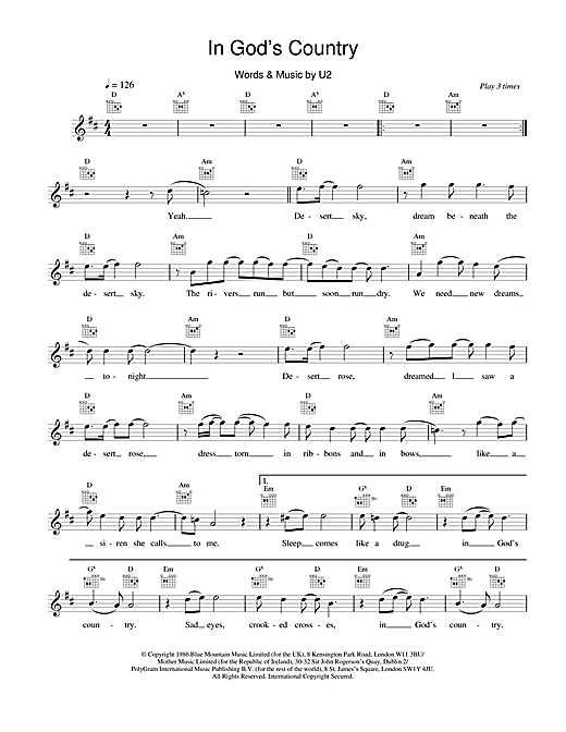 In God's Country sheet music