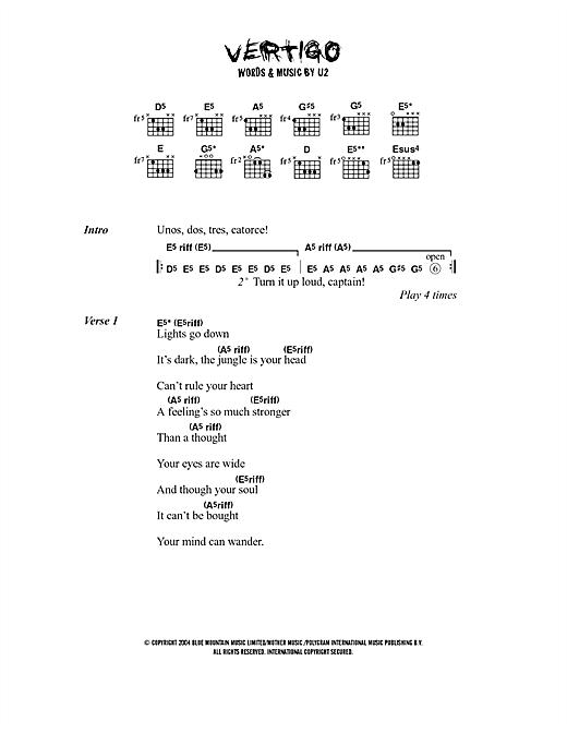 Vertigo sheet music