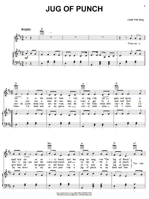 Jug Of Punch sheet music