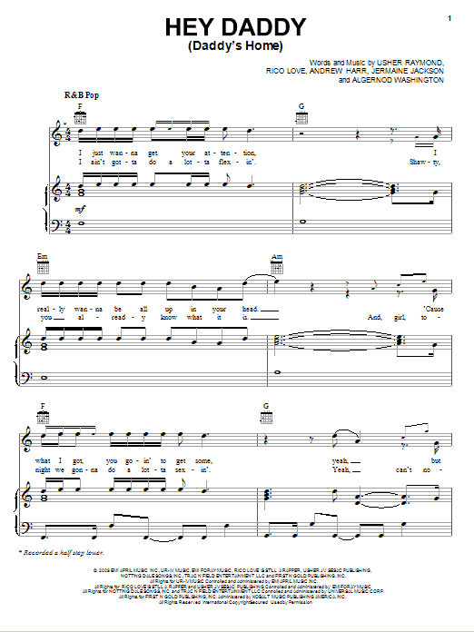 Hey Daddy (Daddy's Home) sheet music