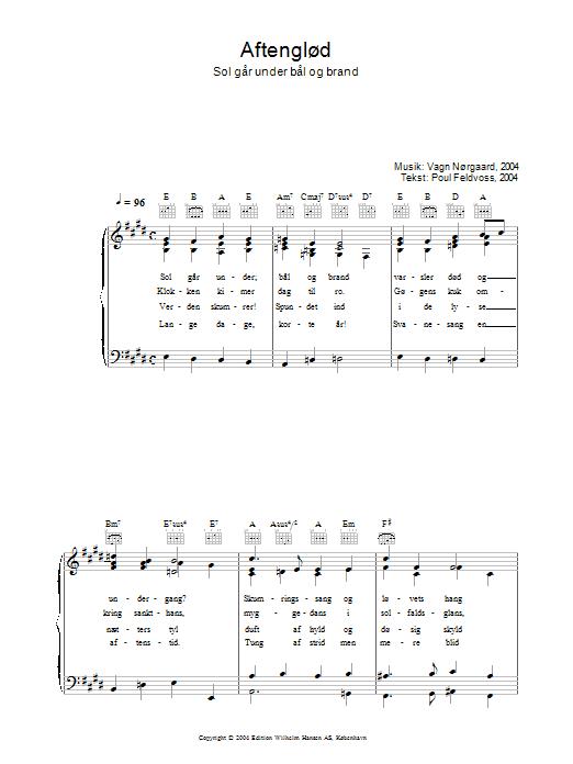 Aftenglød - Sol Går Under Bål Og Brand sheet music