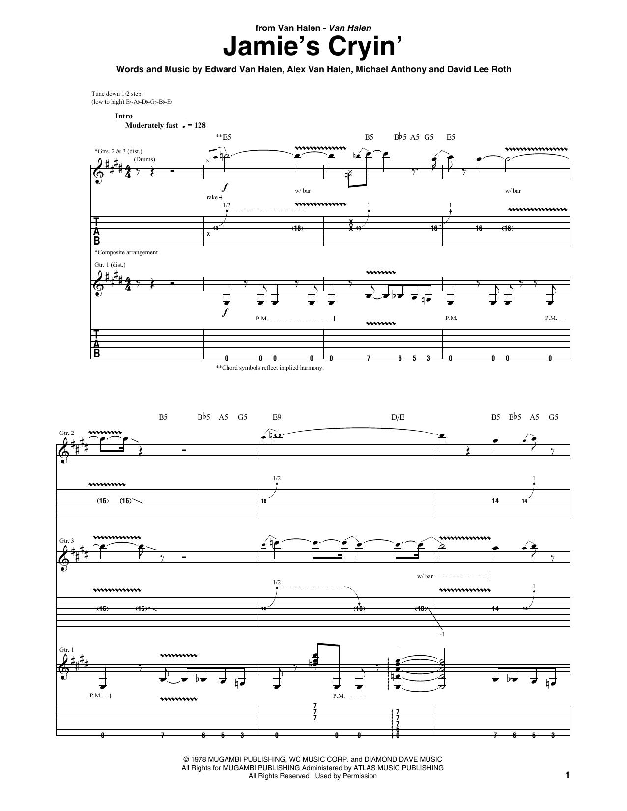 Jamie's Cryin' sheet music