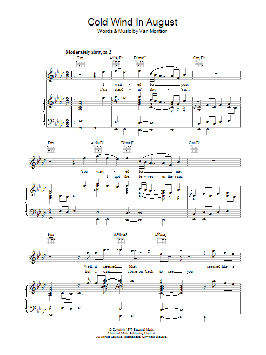 Cold Wind In August sheet music