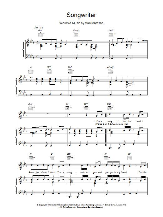 Songwriter sheet music