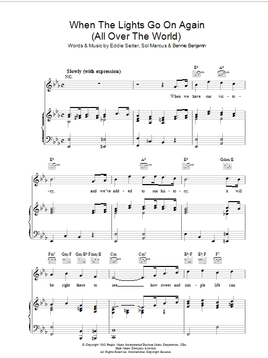 When The Lights Go On Again (All Over The World) sheet music