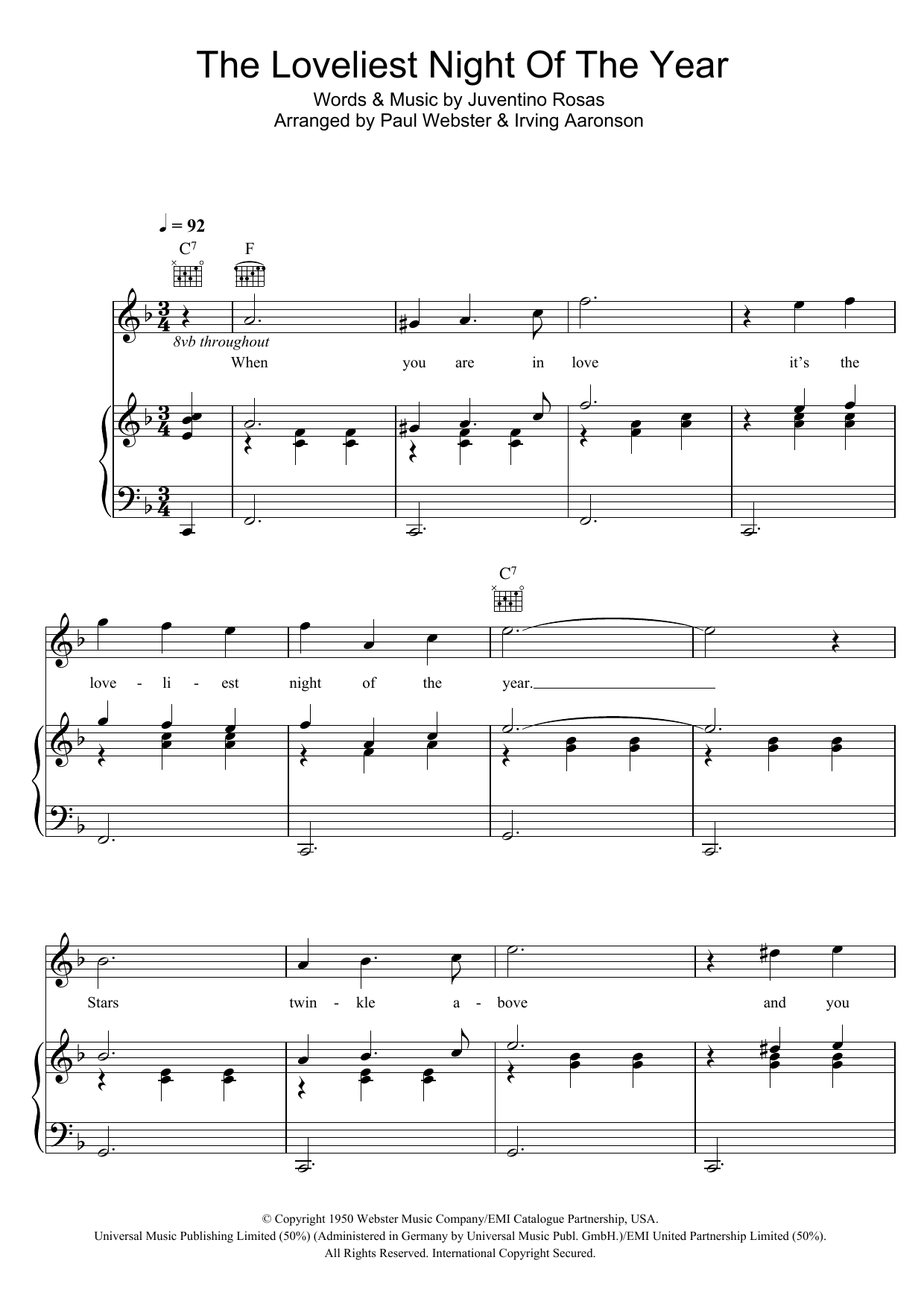 The Loveliest Night Of The Year sheet music