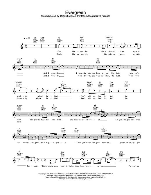 Evergreen sheet music