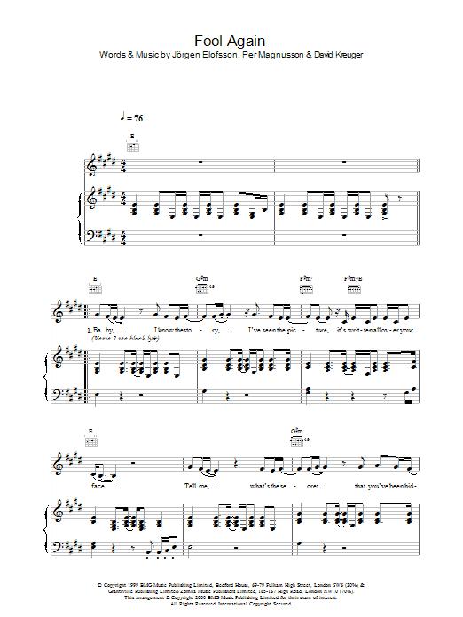 Fool Again sheet music