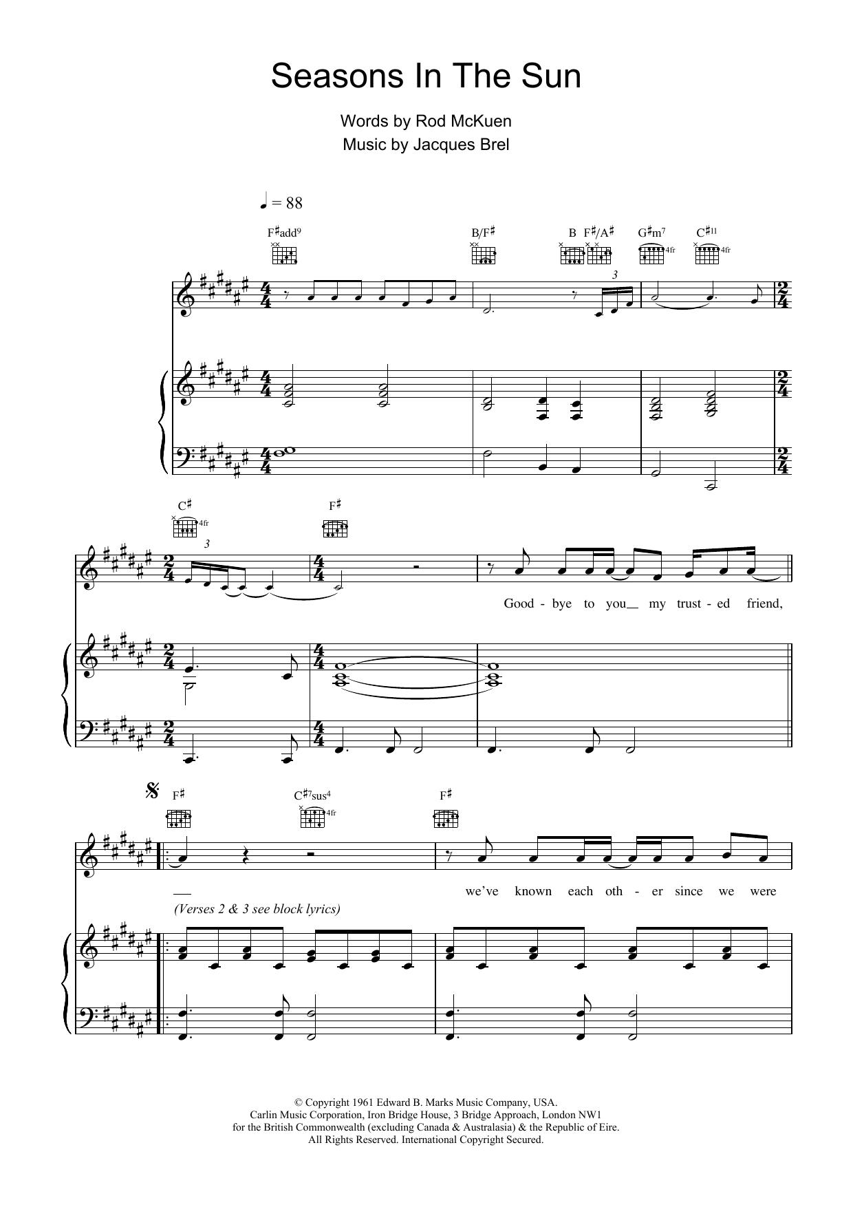 Seasons In The Sun sheet music