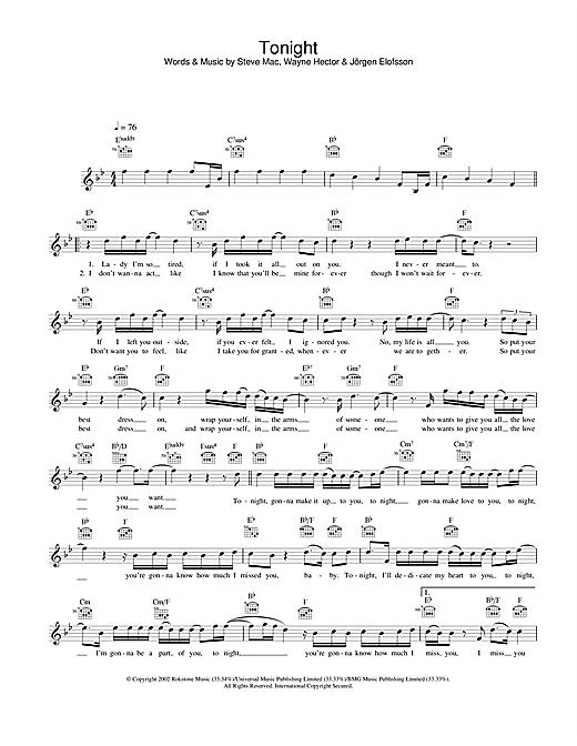 Tonight sheet music