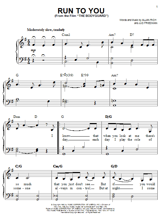 Run To You sheet music