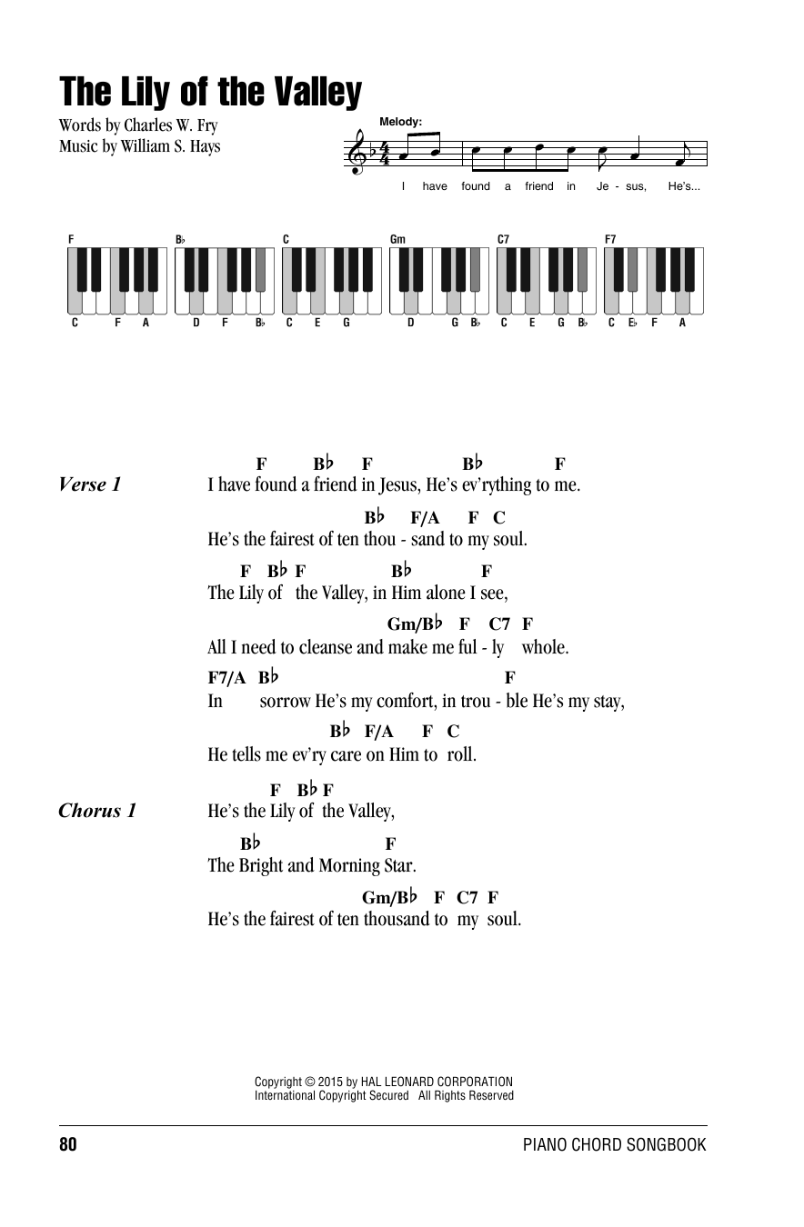 William S. Hays 'The Lily Of The Valley' Sheet Music Notes, Chords    Download Printable Lyrics & Piano Chords   SKU 15
