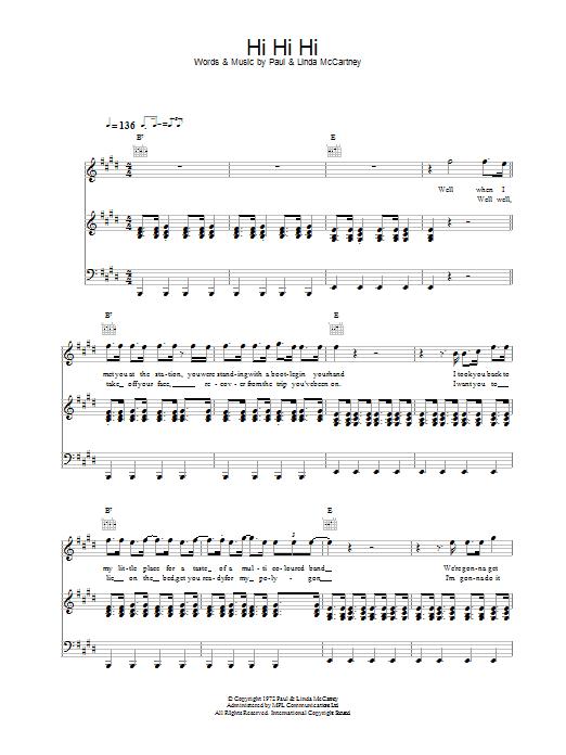 Hi Hi Hi sheet music