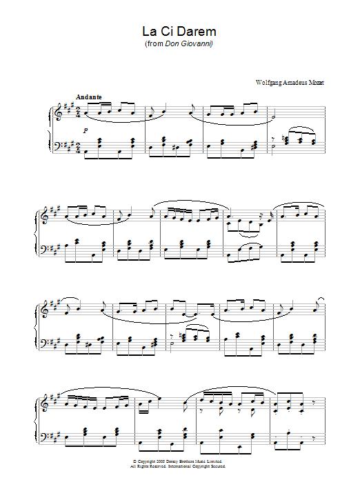 La, Ci Darem La Mano (from Don Giovanni) sheet music