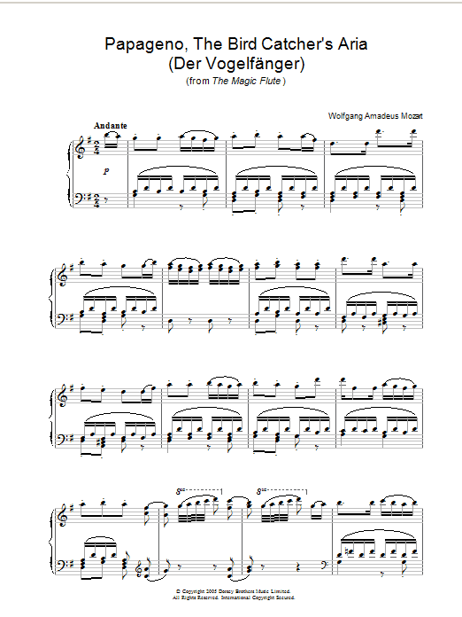 Papageno, The Bird Catcher's Aria (Der Vogelfänger) (from The Magic Flute) sheet music