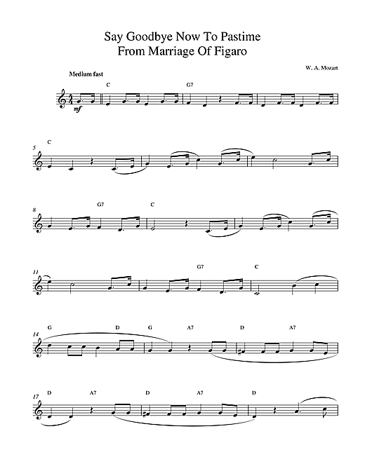 Say Goodbye Now To Pastime sheet music